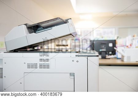 Close-up The Photocopier Or Copier Or Xerox Printer Machine Is Office Work Tool In Copy Room For Sca