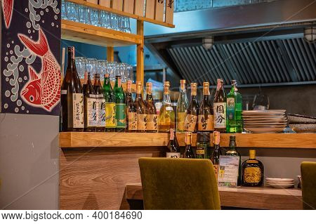 Bangkok/thailand- 31 Dec 2019:sake Or Japanese Whisky In Japanese Restaurant At Bangkok City Thailan