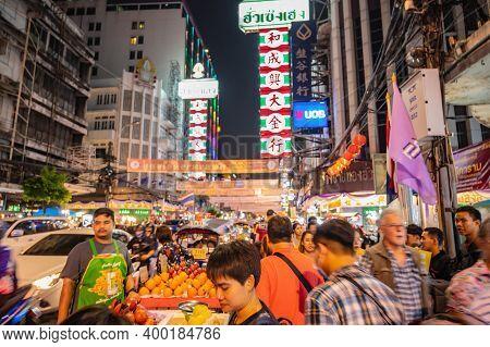Bangkok/thailand-23 Jan 2020:motion Blur Of Unacquainted People Walking In Yaowarat China Town At Ba