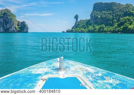 Front Of The Boat With Beautiful Idyllic Ocean And Blue Sky In Vacation Time At Krabi City Thailand