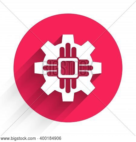 White Processor Icon Isolated With Long Shadow. Cpu, Central Processing Unit, Microchip, Microcircui