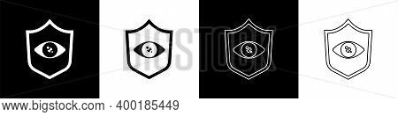 Set Shield Eye Scan Icon Isolated On Black And White Background. Scanning Eye. Security Check Symbol