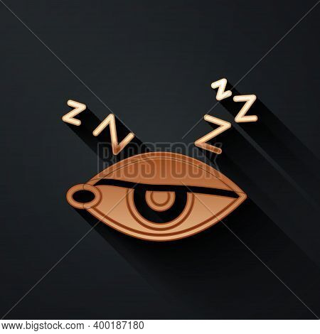Gold Insomnia Icon Isolated On Black Background. Sleep Disorder With Capillaries And Pupils. Fatigue