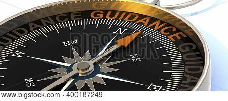 Compass Needle Pointing To Word Guidance, 3d Rendering