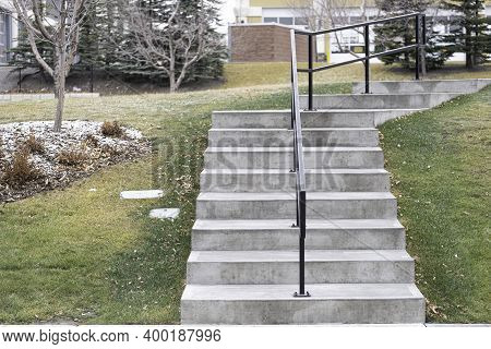 Footpath Steps In Public Park With Handrails