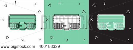Set Hunting Cartridge Belt With Cartridges Icon Isolated On White And Green, Black Background. Bando
