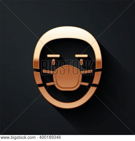 Gold Doctor Pathologist Icon Isolated On Black Background. Long Shadow Style. Vector