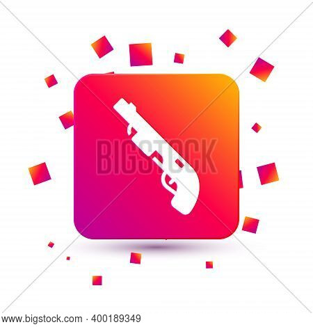 White Police Shotgun Icon Isolated On White Background. Hunting Shotgun. Square Color Button. Vector