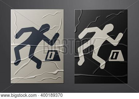 White Crime Scene Icon Isolated On Crumpled Paper Background. Paper Art Style. Vector