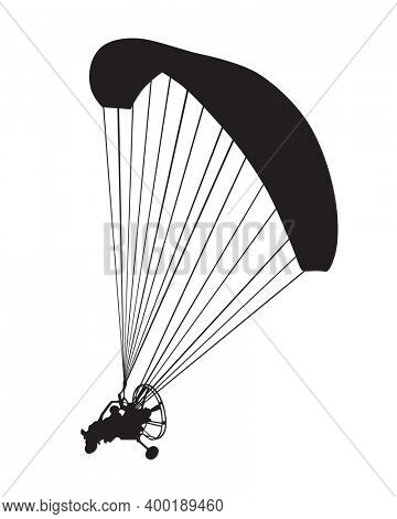Parachute whit motor flies across the sky. Isolated object on white background