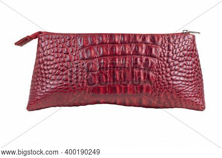 Red Women Handbag, Red Leather Female Clutch. Women Leather Bag Isolated White Background .bag Isola