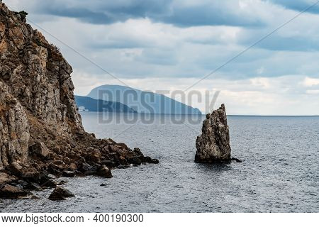 Skala Parus, Yalta. View Of Bolshaya Yalta From The Castle Swallows Nest, Crimea.