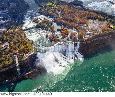 Niagara Falls Aerial View.  An Aerial View Of The American Falls, A Part Of The Niagara Falls.  The