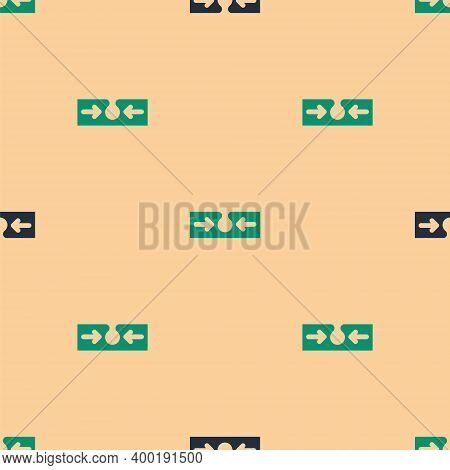 Green And Black Acne Icon Isolated Seamless Pattern On Beige Background. Inflamed Pimple On The Skin