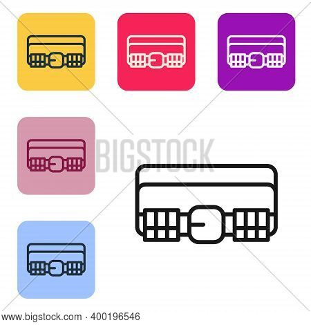 Black Line Hunting Cartridge Belt With Cartridges Icon Isolated On White Background. Bandolier Sign.