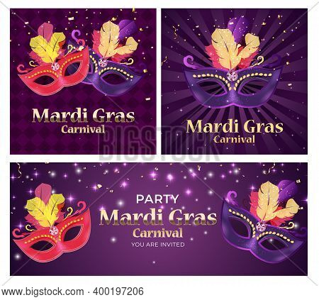 Carnaval Background Set.traditional Mask With Feathers And Confetti For Fesival, Masquerade, Parade.