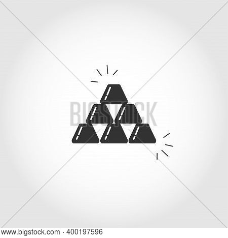 Gold Ingots Isolated Vector Icon. Business Design Element