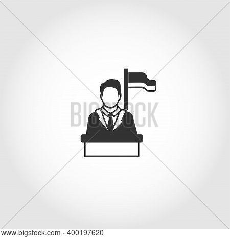 Speaker Icon. Orator Speaking From Tribune Isolated Vector Icon. Business Design Element