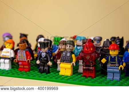 Ukraine, Kyiv - April 3, 2020: Lego Figures. The Company Of Friends. Set Of Little Men. The Crowd At