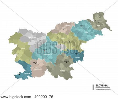 Slovenia Higt Detailed Map With Subdivisions. Administrative Map Of Slovenia With Districts And Citi