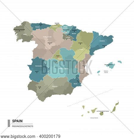 Spain Higt Detailed Map With Subdivisions. Administrative Map Of Spain With Districts And Cities Nam