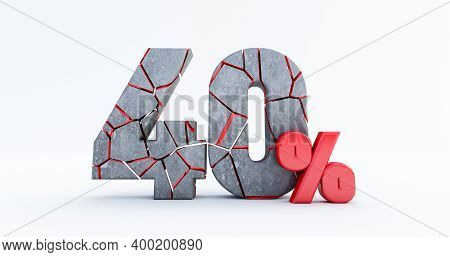 3d Render Of  Broken Forty Percent (40%)  Isolated On White Background, 40 Forty Percent Sale. Black