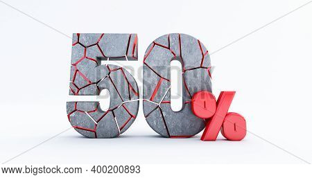 3d Render Of  Broken Fifty Percent (50%)  Isolated On White Background, 50 Fifty Percent Sale. Black
