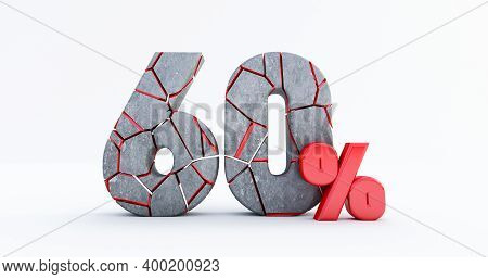 3d Render Of  Broken Sixty Percent (60%)  Isolated On White Background, 60 Sixty Percent Sale. Black