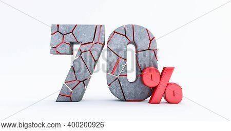 3d Render Of  Broken Seventy Percent (70%)  Isolated On White Background, 70 Seventy Percent Sale. B