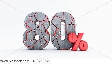 3d Render Of  Broken Eighty Percent (80%)  Isolated On White Background, 80 Eighty Percent Sale. Bla