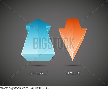 Two Arrow In The Perspective Distortion. 2 Direction Ahead And Back Banner Shape. Trend Form
