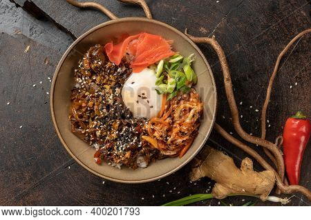 Beef Bowl. Simmered Beef, Rice, Onion, Pickle Ginger, Egg. Hot Main Meat Dish