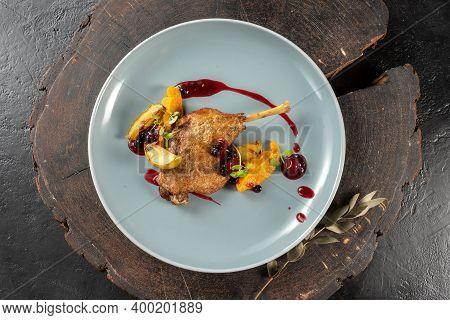 Duck Confit. Duck Leg, Sweet Potato Puree. A Hot Poultry Main Course.