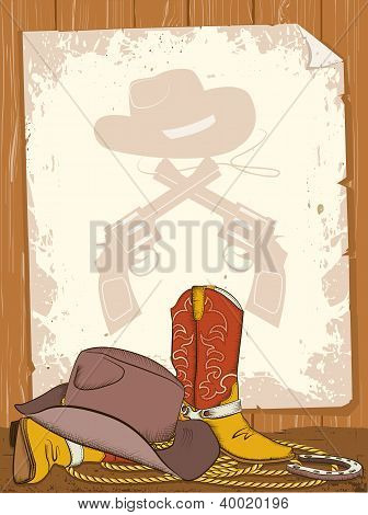 Cowboy Background With American Boots And Old Paper For Text