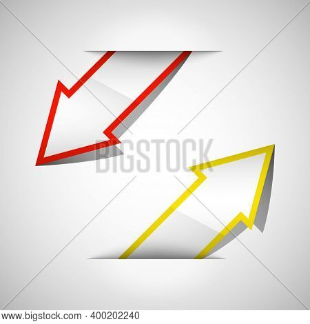 Arrow Banners Set. Direct Shape. 3d Abstract Background. Business Infographic Presentation Diagram.