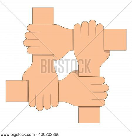 Four Joined Hands. Synergy Concept. Vector Illustration.