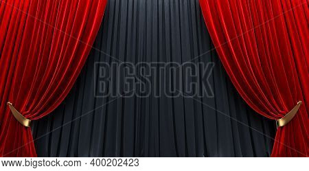 3d Render Awards Show Background With Red Curtains Open On Black Curtain .