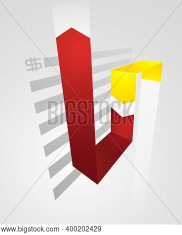 Abstract Business Chart With Uptrend Line Graph, Bar Chart And Stock Numbers In Bull Market With Arr