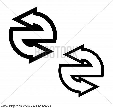 Double Curved Circle Arrow Ribbon Logo. 2 Direction Round Banner Shape. Dual Trend Arrow Stripe Form