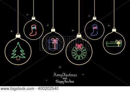 Christmas Card. Neon Glow. Set Of Christmas Toys. Christmas Ball With Festive Ornament. Lettering An