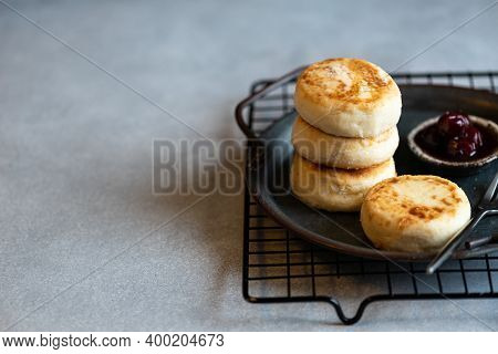 Cottage Cheese Pancakes With Jam, Homemade Traditional Syrniki, Selective Focus