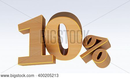 3d Render Of  Wooden Ten Percent (10%)  Isolated On White Background, 10 Ten Percent Sale. Black Fri