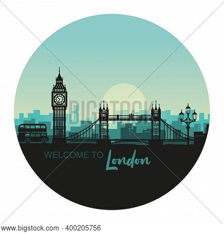 Abstract Round Cityscape Of London With The Sights At Sunset. Vector Illustration