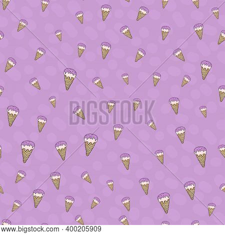 Seamless Pattern Set, Cartoon Hand-drawn Sweet Ice Cream, Delicate Pastel Pink Beige Lilac Colors. G