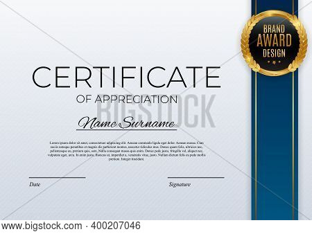 Certificate Of Achievement Template Set Background With Gold Badge And Border. Award Diploma Design