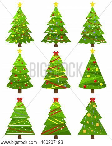 Decorative Christmas Trees Icons Set. Cute Christmas Trees With Toys. Fir Tree. Pine Tree. Spruce Tr