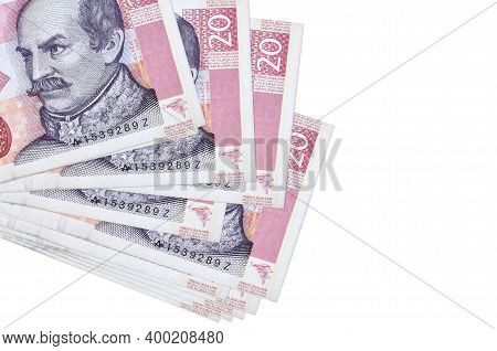 20 Croatian Kuna Bills Lies In Small Bunch Or Pack Isolated On White. Mockup With Copy Space. Busine