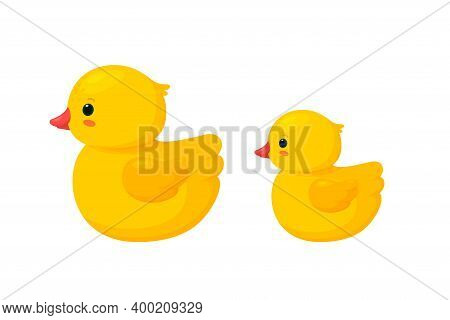 Rubber Duck Family Isolated In White Background. Side View Of Yellow Plastic Duck Toys, Parent And B