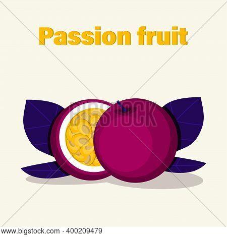 Half Of Juicy Purple Passion Fruit. Vector Illustration.