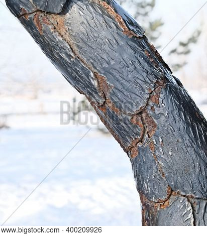 Twisted Pole Metal,   Rusty Metal Texture,  Deep Fracture Of Metal With Peeling Paint, Concept Of An